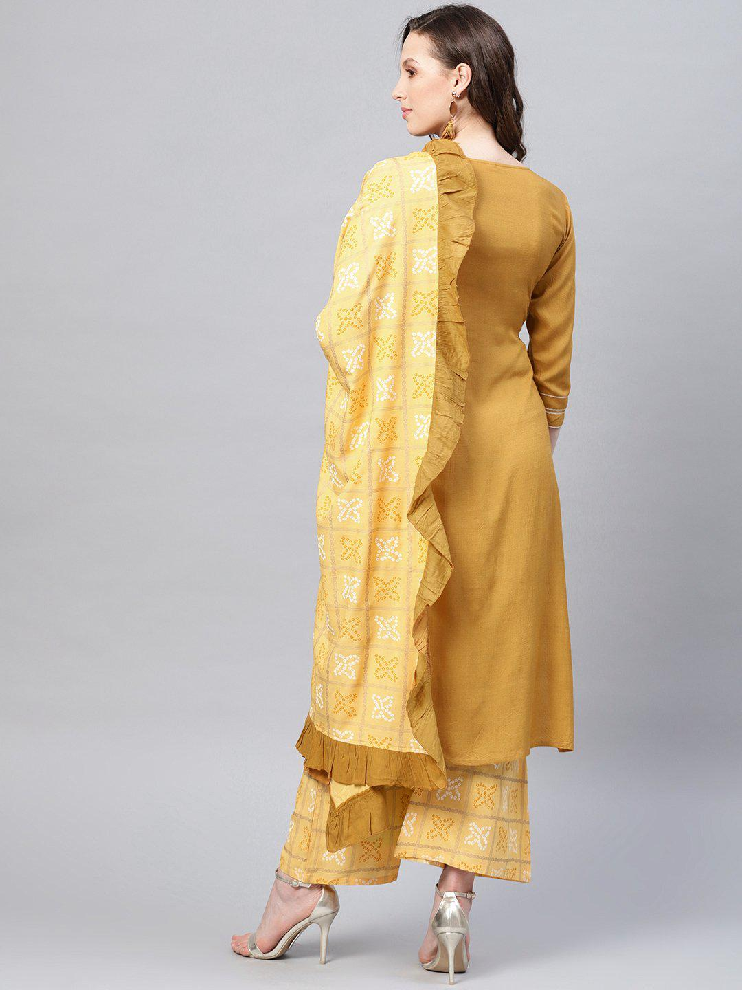 Women Yellow Striped Kurta with Palazzos & Dupatta - zooomberg