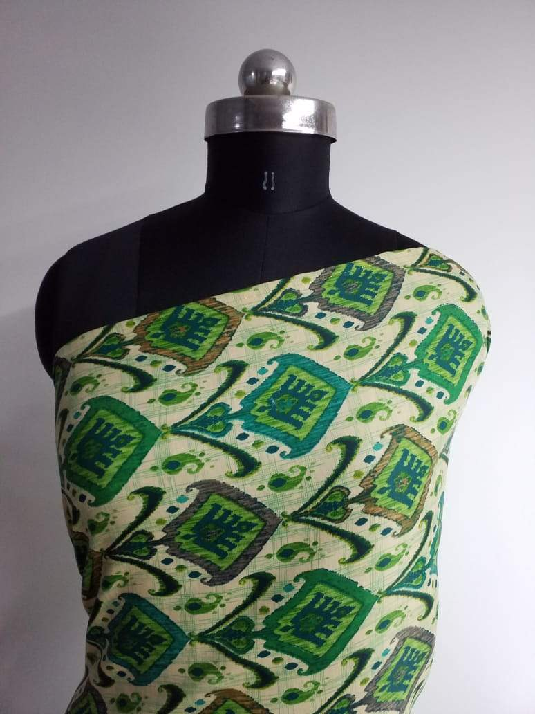 Green Ancient Floral Checkered Pattern Printed Linen Satin Fabric - Zooomberg