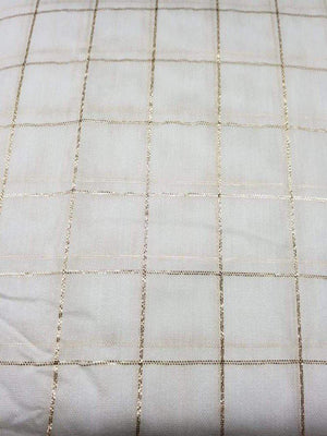 Dyeable White Plain Chanderi Fabric With Gold Zari Checks