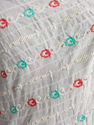 Cotton Floral Chain Embroidery Fabric with Gold Sequins - Zooomberg