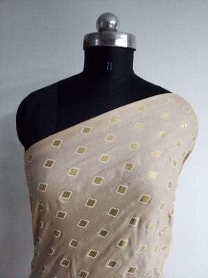 Diamond Pattern Gold Discharge Printed Linen Satin Fabric - Zooomberg
