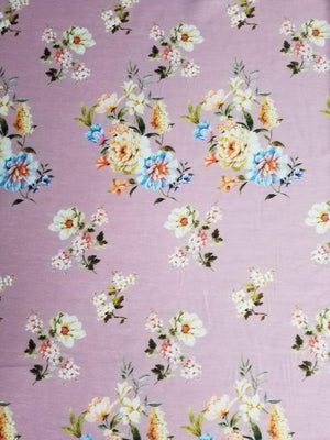 Digital Floral Printed Linen Satin Fabric - Zooomberg