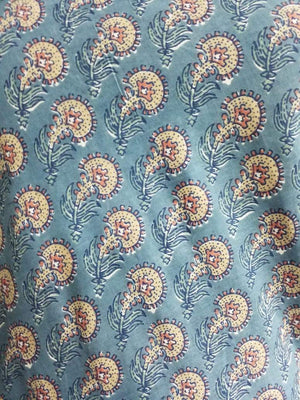 Cotton Cambric Floral Block Screen Printed Fabric