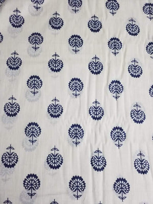 Floral Printed Cotton Mulmul Fabric