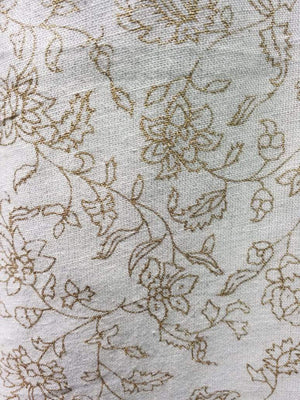 Gold Floral Cotton Flex Screen Printed Fabric