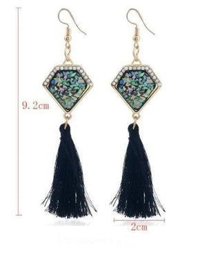 Get Ethnic Vintage Statement Irregular Stone Long Tassel Drop Earring with RS. 260.00