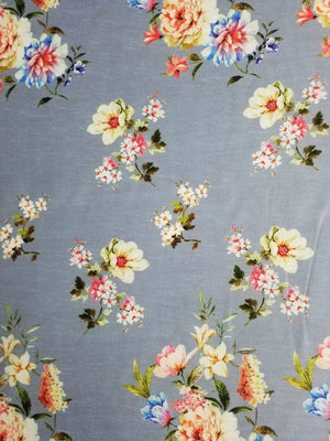 Digital Floral Printed Linen Satin Fabric