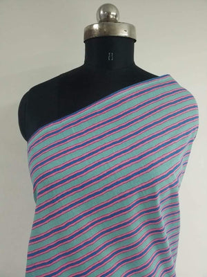 Multilayered Stripe Printed Cotton Cambric Fabric