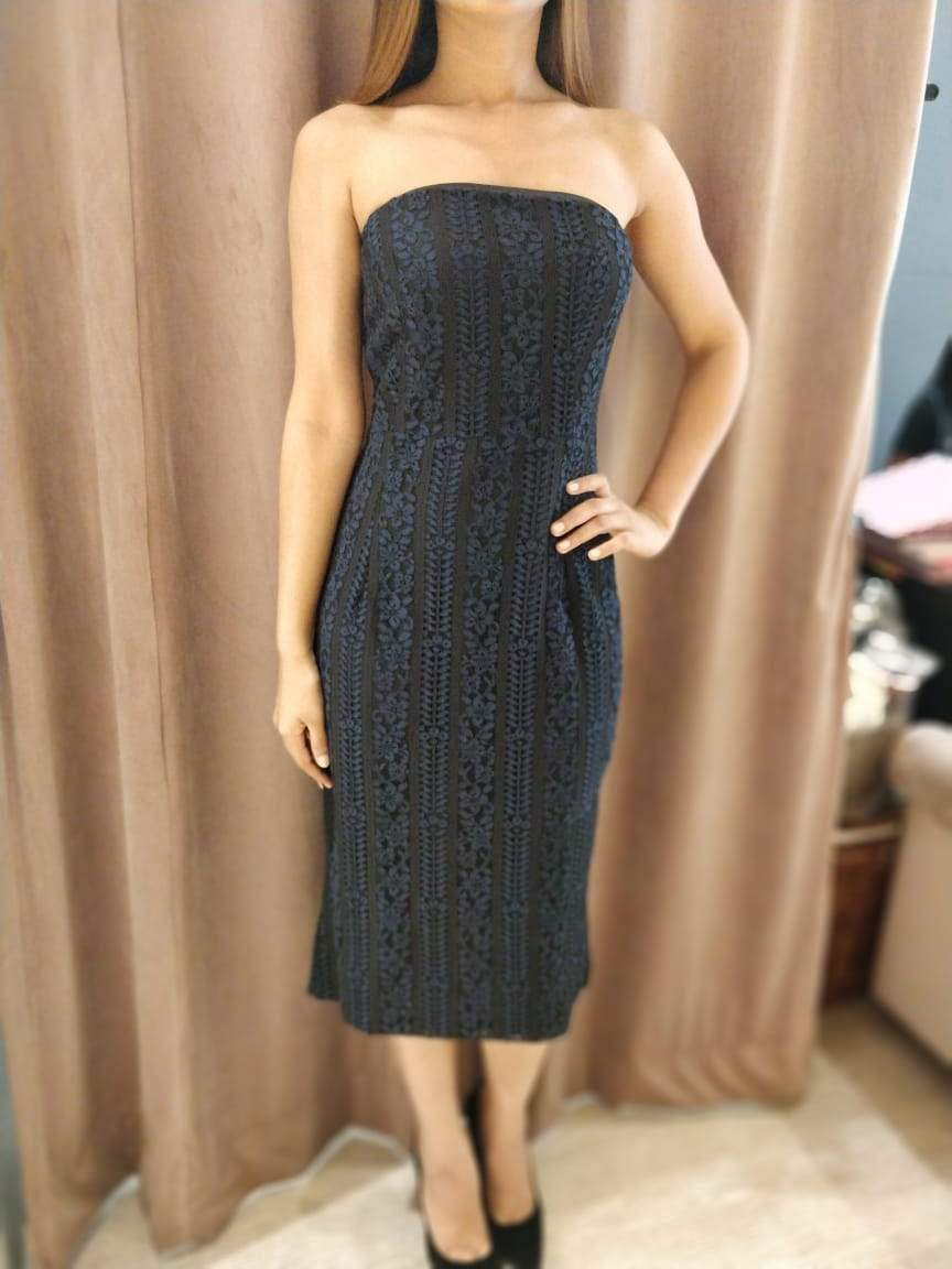 Midnight Blue Lace Tube Dress - zooomberg