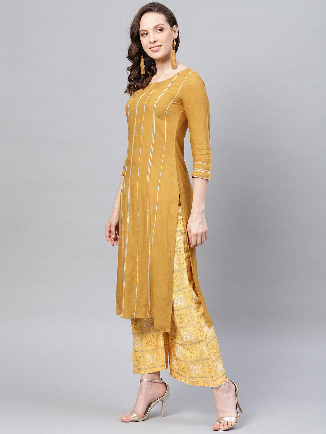 Women Yellow Striped Kurta with Palazzos & Dupatta - Kurta Set - Zooomberg - Zoomberg