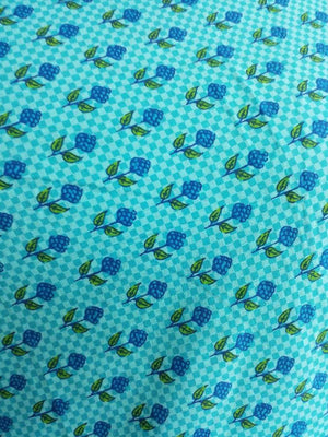 Cotton Cambric Floral Checkered Printed Fabric