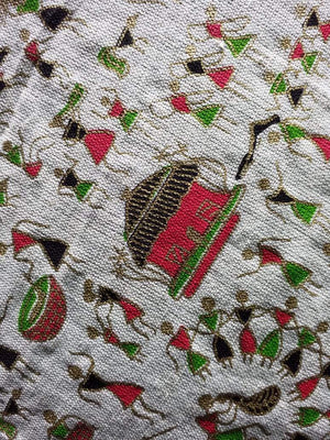 Red Green Warli Tribe Pattern Cotton Flex Fabric with Gold Print