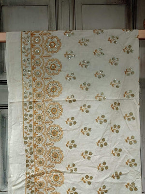 Cotton Palazzo Embroidery Fabric with Gold Sequins and One Side Border