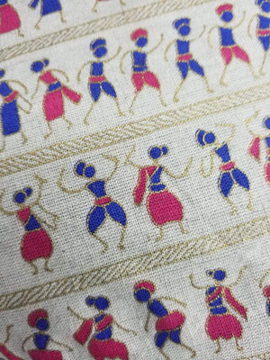 Pink Warli Pattern Cotton Flex Fabric with Gold Print - Zooomberg