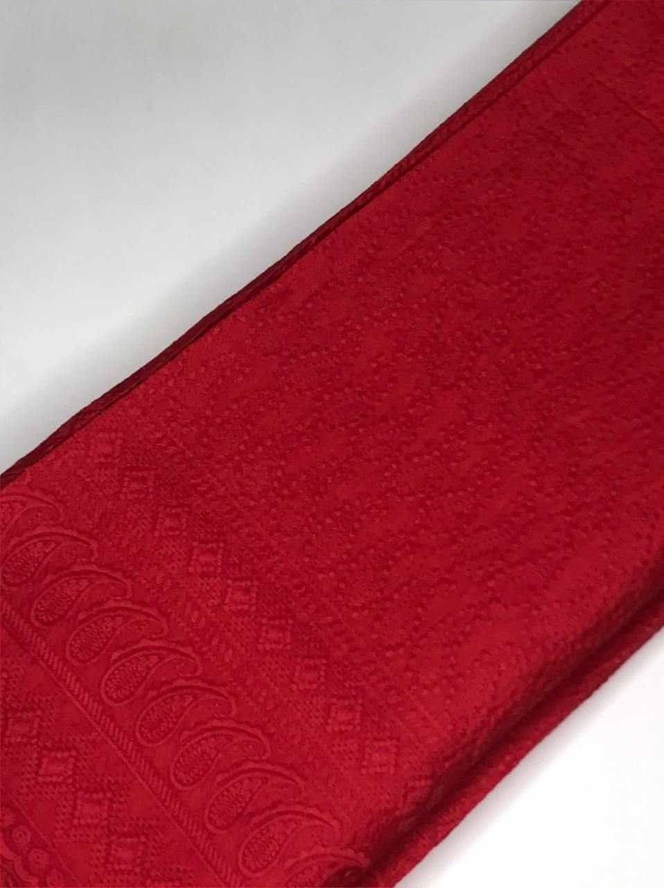Red Rayon Palazzo Embroidery Fabric with One Side Border