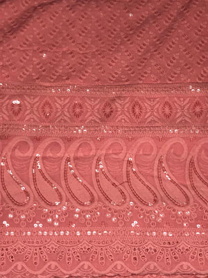 Pink Rayon Palazzo Embroidery Sequin Fabric with One Side Border