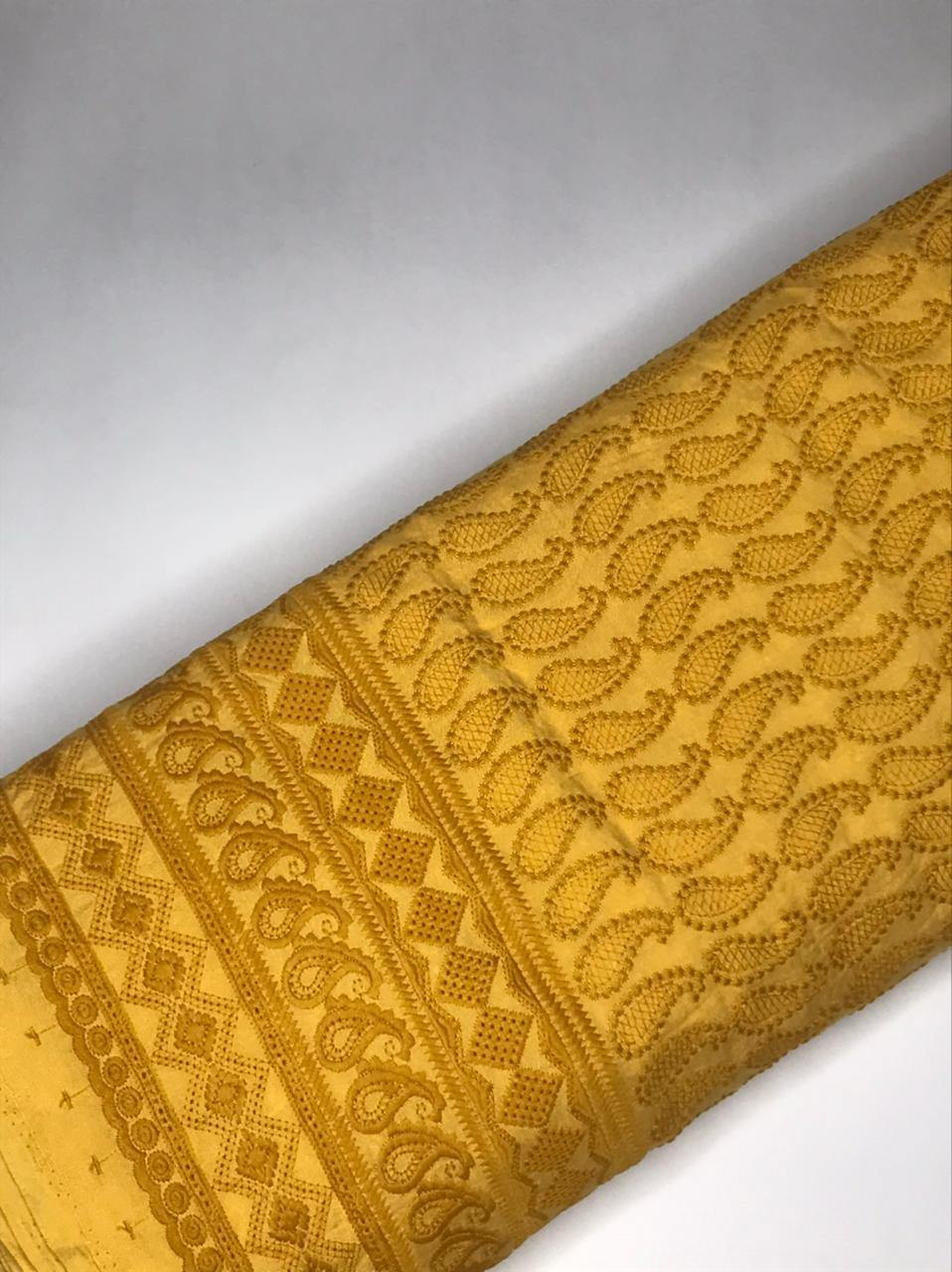 Yellow Rayon Palazzo Embroidery Fabric with One Side Border