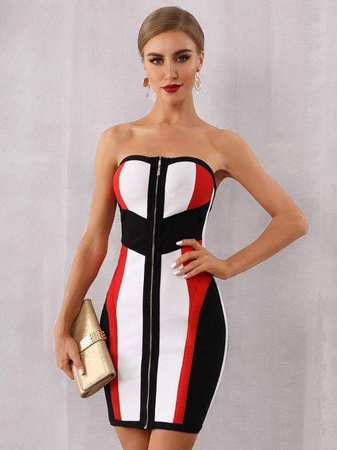 Bodycon Bandage Strapless Midi Celebrity Party Dresses - zooomberg