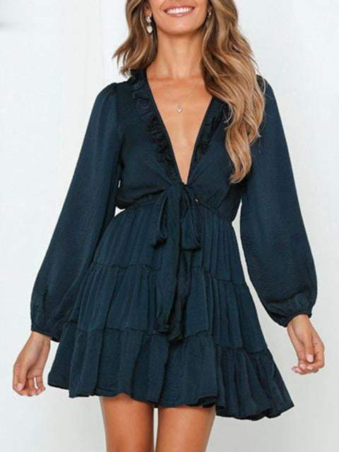Elegant Long Sleeve Belted Ruffle Neckline Solid Dress - zooomberg
