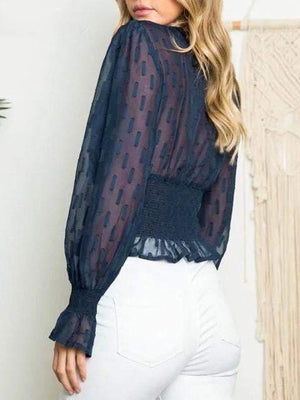 Ruffled Puff Sleeve Chiffon Top - Tops - Zooomberg - Zoomberg