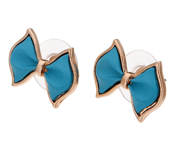 Blue Bow-knot Alloy Ear Stud Earrings