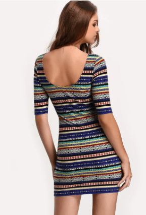Get Vintage Print Open Back Bodycon Dress with RS. 989.00