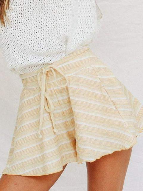 High Waist Loose Lace Up Stripe Casual Shorts