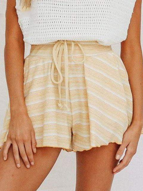 High Waist Loose Lace Up Stripe Casual Shorts - zooomberg