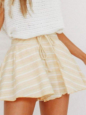 High Waist Loose Lace Up Stripe Casual Shorts - Shorts - Zooomberg - Zoomberg