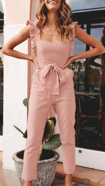 Casual Solid Pink Backless Bow Tie Jumpsuit - zooomberg