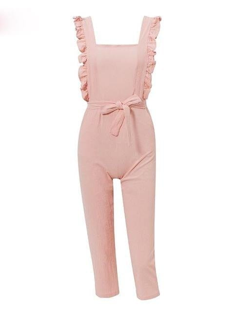Casual Solid Pink Backless Bow Tie Jumpsuit - Jumpsuits - Zooomberg - Zoomberg