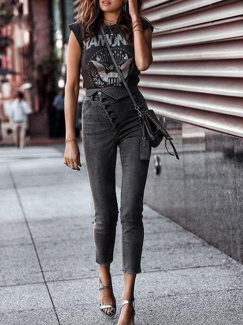 High Waist Casual Denim