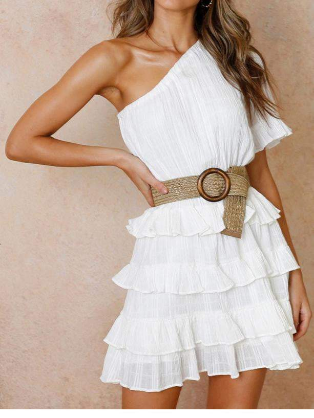 One Shoulder White Dress - Dresses - Zooomberg - Zoomberg