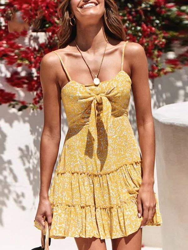 Spaghetti Strap Floral Print Dress - Dresses - Zooomberg - Zoomberg