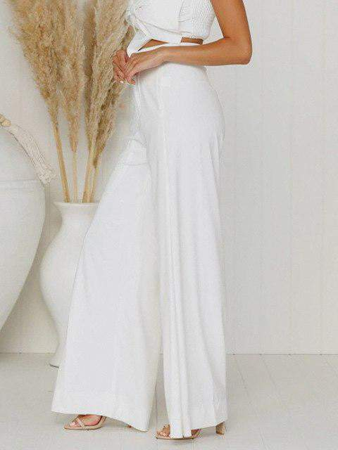 Wide Flare High Waist Casual Pants - zooomberg