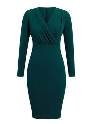 Slim Solid Color Long Sleeve Bodycon Dress - Dresses - Zooomberg - Zoomberg