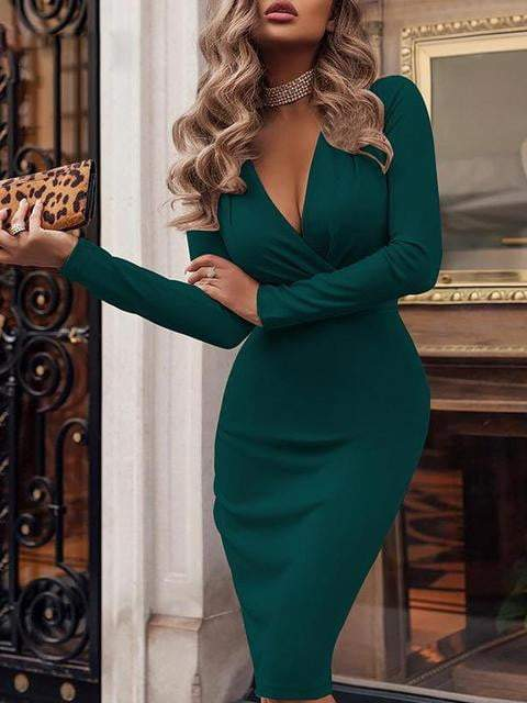 Slim Solid Color Long Sleeve Bodycon Dress - zooomberg