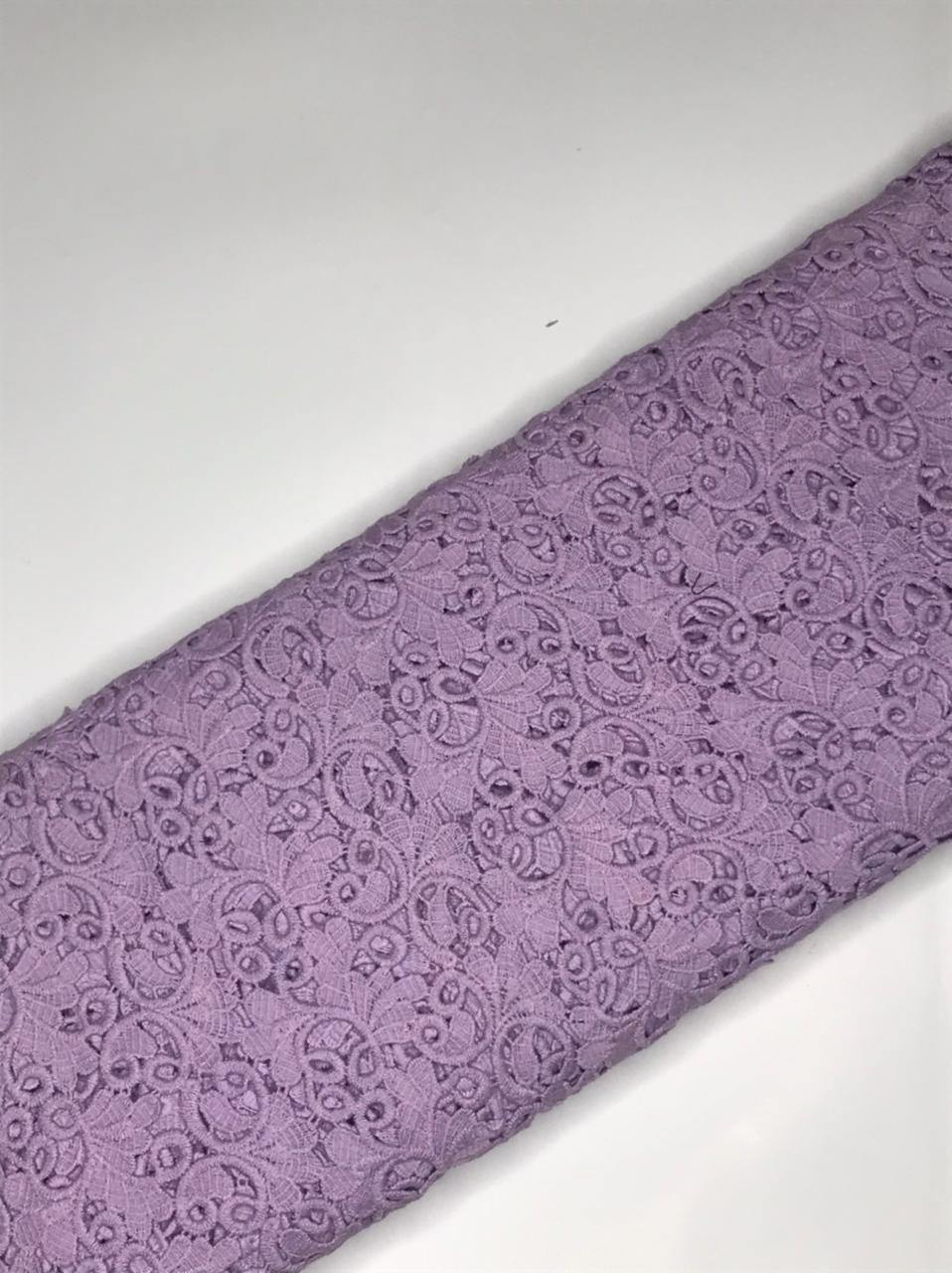 Lilac Crochet Lace Floral Fabric (Width - 44 inches)