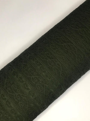 Imported Green Floral Lace Fabric (Width - 58 Inches)
