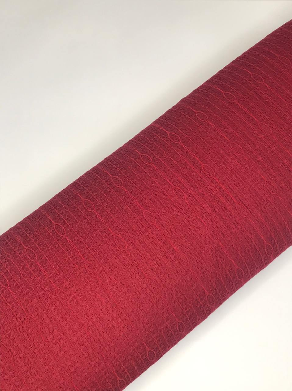 Imported Maroon Floral Lace Fabric (Width - 58 Inches)