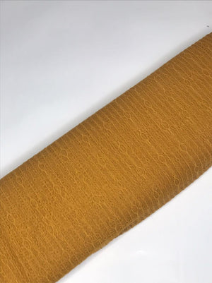 Imported Mustard Floral Lace Fabric (Width - 58 Inches)