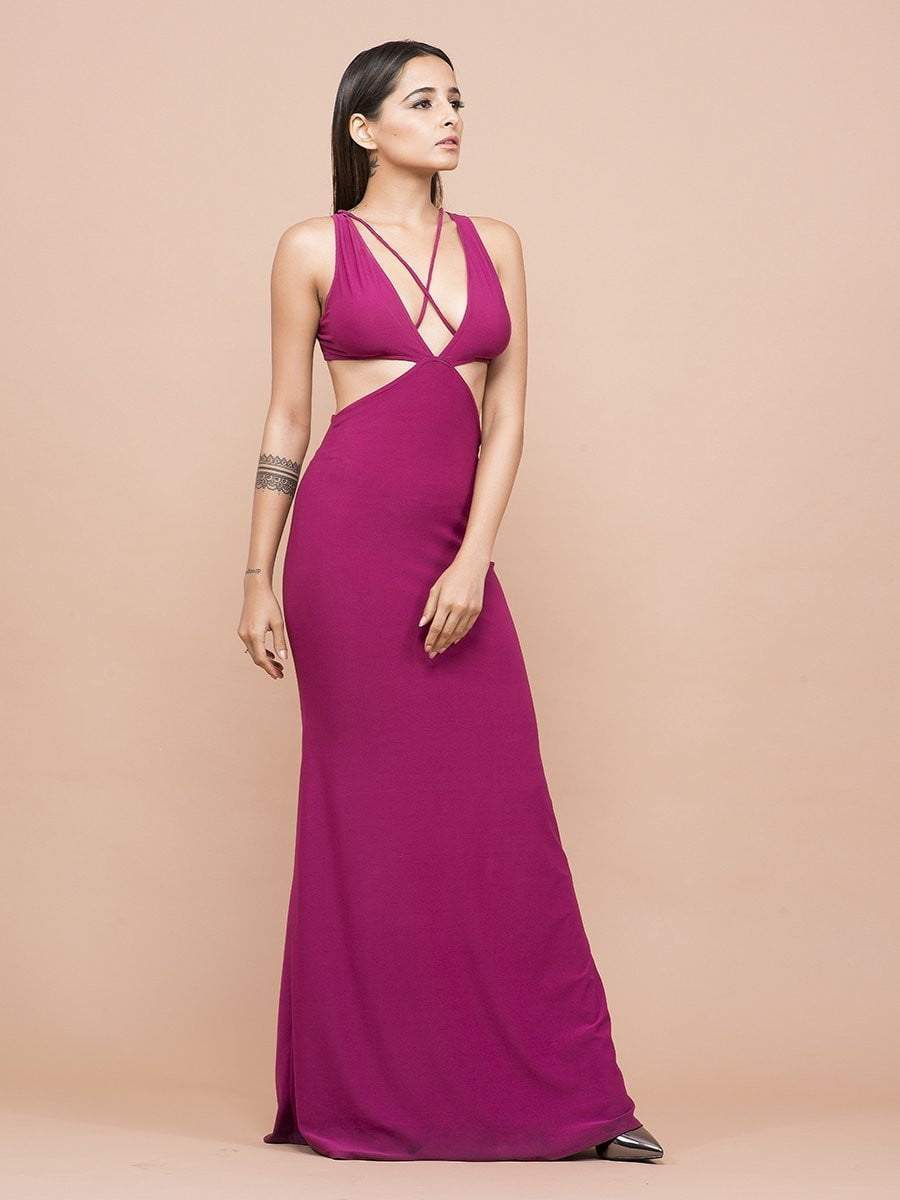 Magenta Cutout Maxi Dress - zooomberg