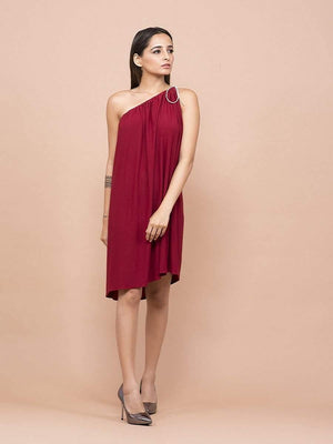 Get Burgundy One Shoulder Dress with RS. 1194.00