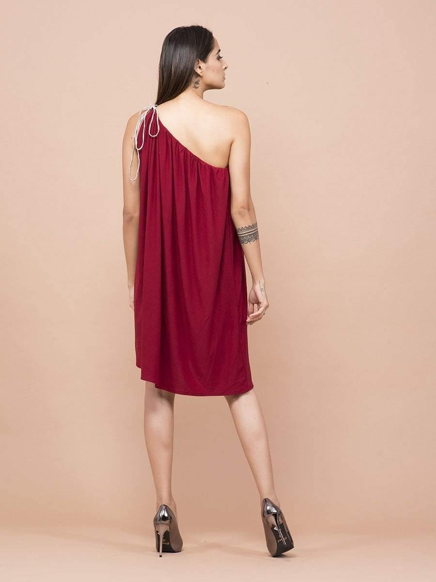 Burgundy One Shoulder Dress - Dresses - Zooomberg - Zoomberg