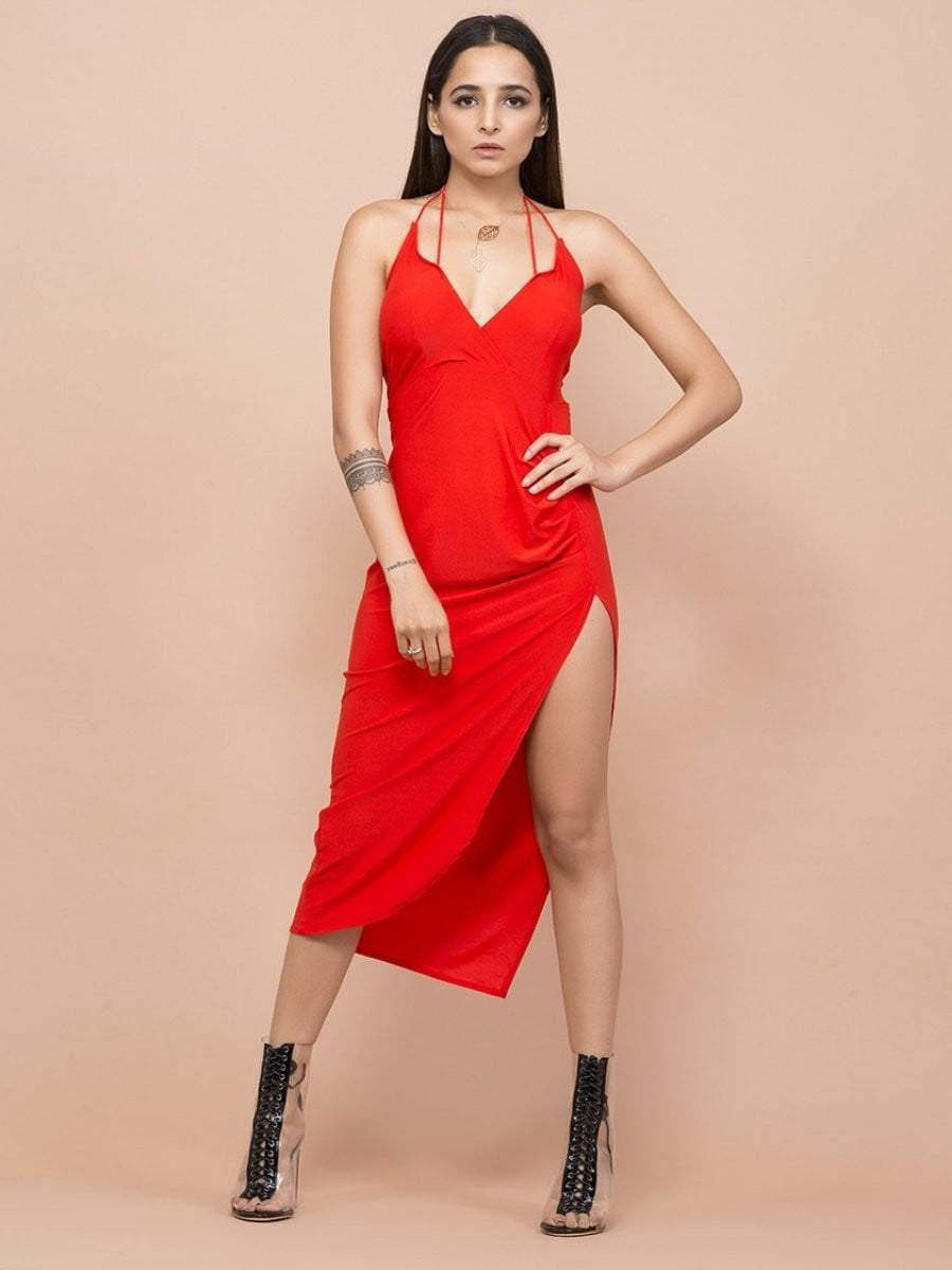 Rose Red Halter Neck Dress - zooomberg