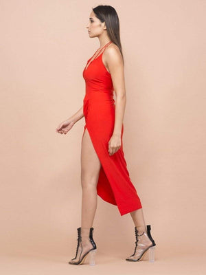 Rose Red Halter Neck Dress - Dresses - Zooomberg - Zoomberg