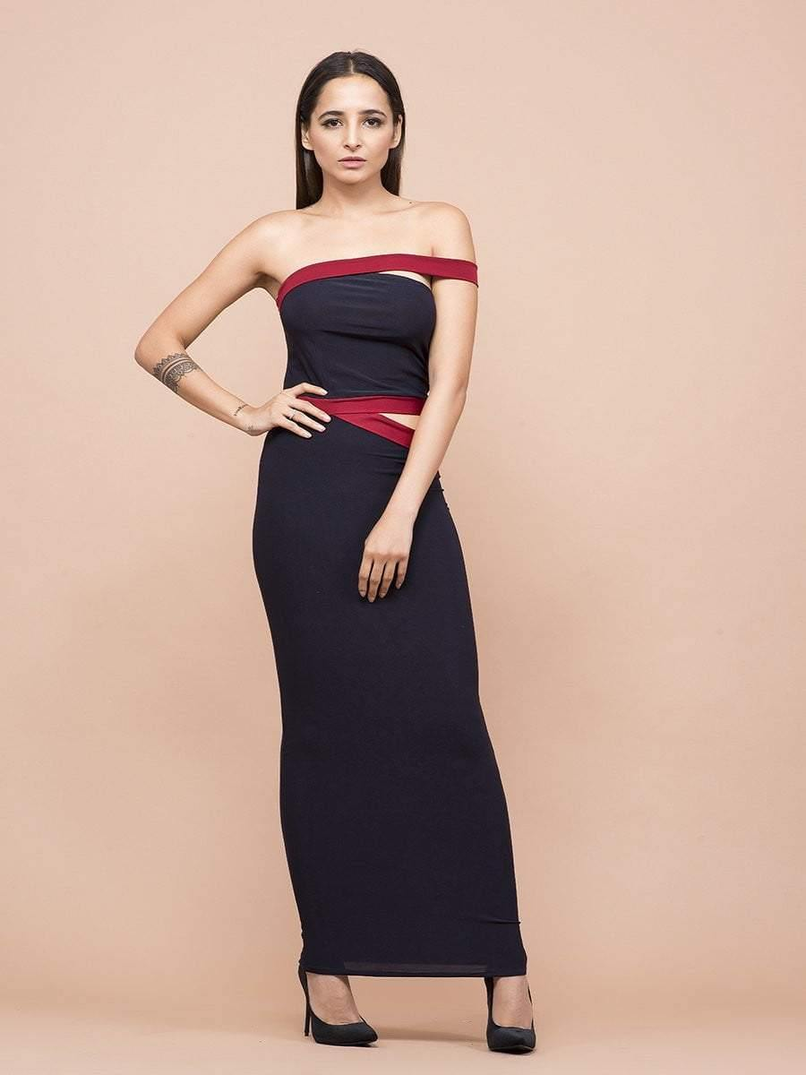 Navy And Red One Shoulder Waist Cutout Dress - zooomberg