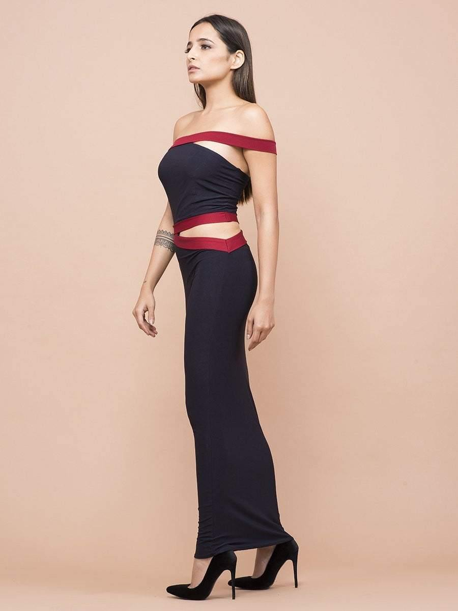 Navy And Red One Shoulder Waist Cutout Dress