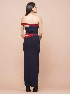 Get Navy And Red One Shoulder Waist Cutout Dress with RS. 1290.00