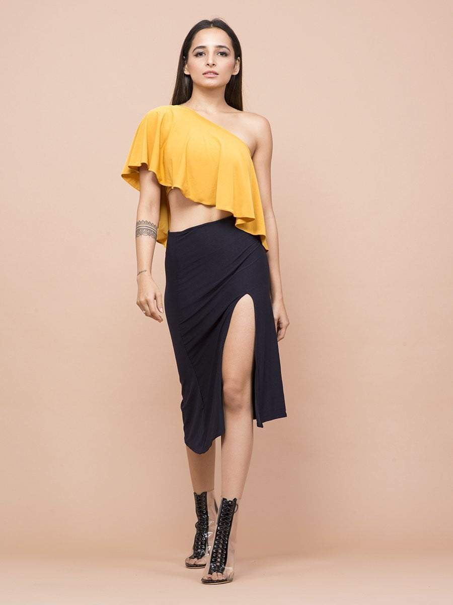 Mustard Yellow One Shoulder dress